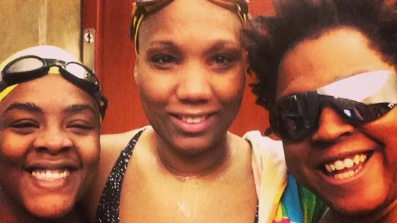 Post-swim smiles. from Eanista Bailey, Lovie Twine, Erica Moore.