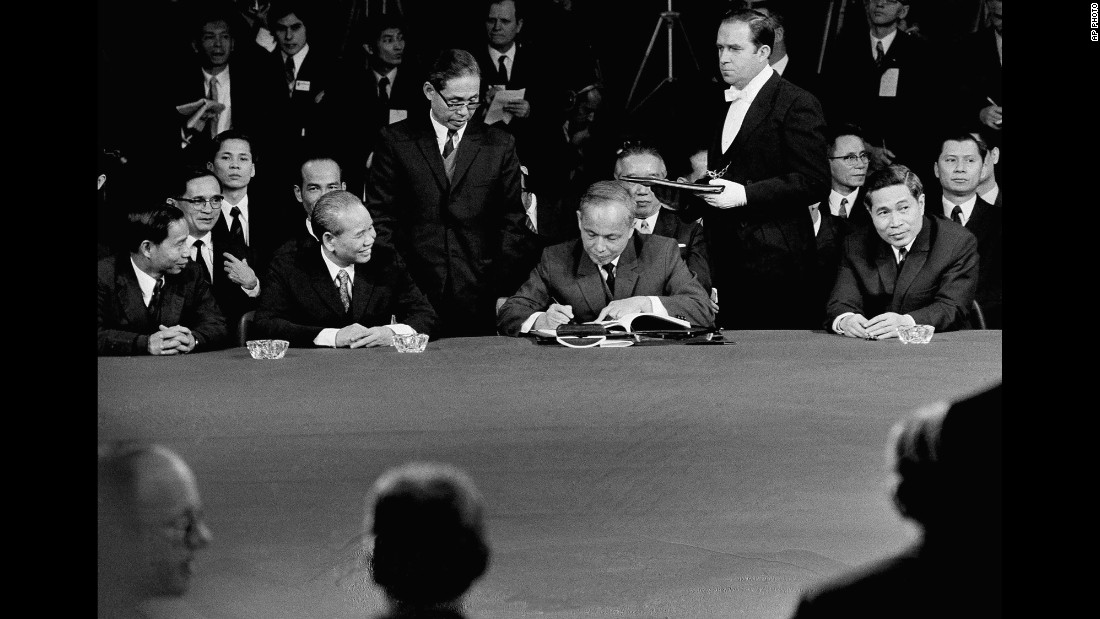 North Vietnamese Foreign Minister Nouyen Duy Trinm signs a ceasefire agreement in Paris on January 27, 1973. The last American ground troops left in March of that year. Fighting would resume between North and South Vietnam, but the United States did not return.