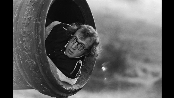 """Woody Allen prepares to be fired from a cannon during filming of his comedy """"Love and Death"""" in November 1974. The photo was taken by Ernst Haas, one of the 20th century's great photojournalists. A new book, """"Ernst Haas: On Set,"""" compiles Haas' photos from the film industry."""