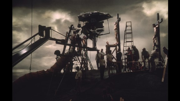 """Crew members set up the crucifixion scene for """"The Greatest Story Ever Told"""" in June 1963."""