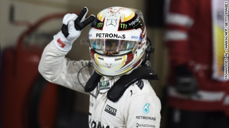 Lewis Hamilton celebrates after claiming poll at the Bahrain Grand Prix.