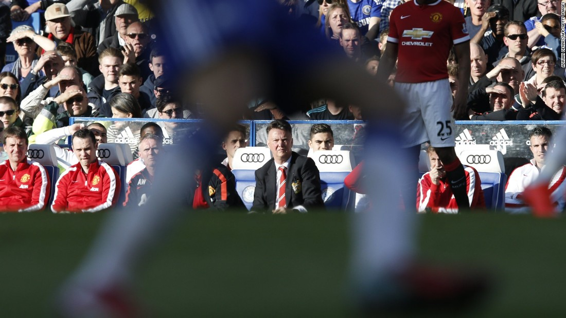 United manager Louis Van Gaal looks on as United dominate possession and territory in the second period.