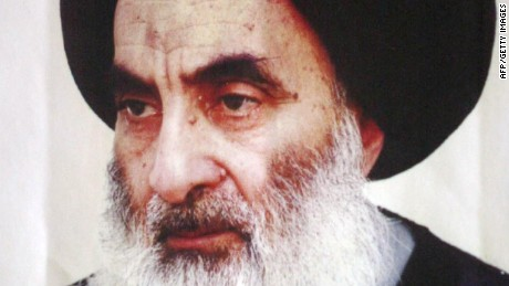 NAJAF, IRAQ:  An undated file photo shows Iraq's top Shiite cleric, Grand Ayatollah Ali Sistani, in Iraq. Sistani was the victim of an assassination attempt by as many as 10 assailants outside Baghdad's Kadhimiya shrine 02 September 2003, the cleric and aides told AFP the following day. The attack sparked renewed criticism of the US-led coalition's failure to secure Iraq's holy sites after 83 people, including a top cleric, were killed in a massive car bombing in the central pilgrimage city of Najaf on 29 August. AFP PHOTO/STR  (Photo credit should read -/AFP/Getty Images)