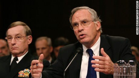 WASHINGTON - FEBRUARY 16:  CIA Director Porter Goss (R) testifies before the Senate Select Intelligence Committee as Defense Intelligence Agency Director Lowell Jacoby (L) looks on at the Hart Senate Office Building on Capitol Hill February 16, 2005 in Washington, DC. Goss and others testified about threats against the U.S.  (Photo by Shaun Heasley/Getty Images)