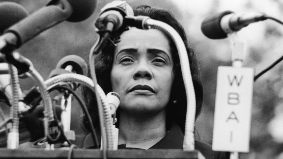 American civil rights campaigner, and widow of Dr. Martin Luther King Jr., Coretta Scott King (1927 - 2006) stands behind a podium covered in microphones at Peace-In-Vietnam Rally, Central Park, New York, April 27, 1968.