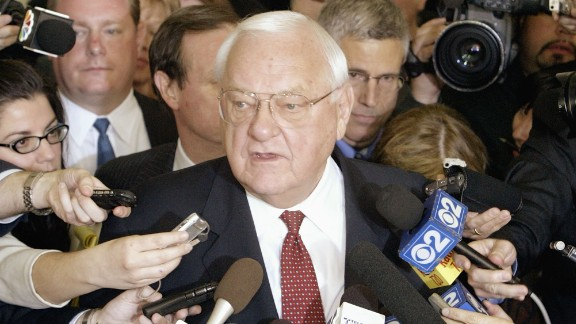 Former Illinois Governor George Ryan speaks to the news media at the federal courthouse following a verdict of guilty on all counts in his corruption trial April 17, 2006, in Chicago, Illinois.