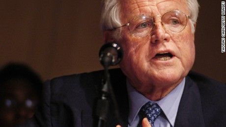 PHILADELPHIA - JULY 5:  Senator Ted Kennedy (D-MA) speaks during a Senate Hearing on Illegal Immigration at the National Constitution Center July 5, 2006 in Philadelphia, Pennsylvania. Testimony was heard on potential solutions to the United States illegal immigration problem.  (Photo by William Thomas Cain/Getty Images)