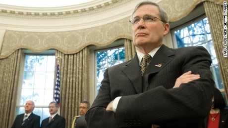 US National Security Advisor Stephen Hadley listens as US President George W. Bush meets with Paraguay's President Fernando Lugo in the Oval Office of the White House in Washington on October 27, 2008. (SAUL LOEB/AFP/Getty Images)