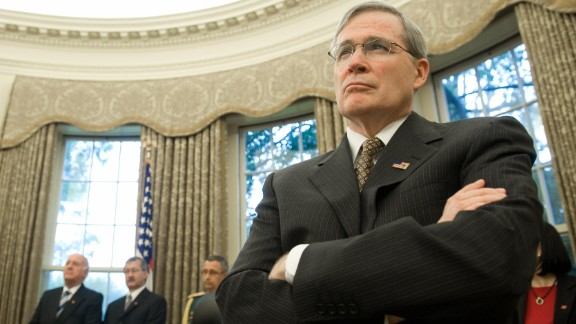 US National Security Advisor Stephen Hadley listens as US President George W. Bush meets with Paraguay's President Fernando Lugo in the Oval Office of the White House in Washington on October 27, 2008.