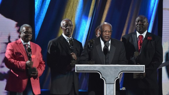 """Fred Tanner accepts the early influence award on behalf of rhythm-and blues-vocal group The """"5"""" Royales, whose music included the original recording of """"Dedicated to the One I Love."""""""