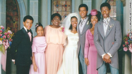 The cast of 'Good Times' from left to right: Ralph Carter, Janet Jackson, Esther Rolle, BernNadette Stanis, Ben Powers, Ja'net DuBois, and Jimmie Walker.