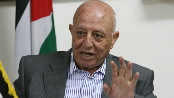 Ahmed Qorei speaks during a press conference at his office in the West Bank Jerusalem suburb of Abu Dis on March 15, 2010.