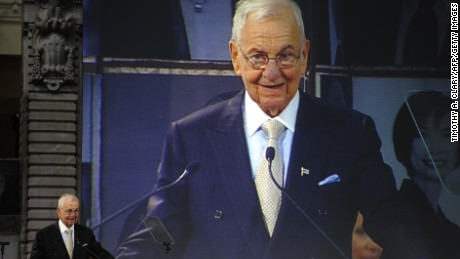 Business icon Lee Iacocca speaks after he receive honors at the Ellis Island Family Heritage Awards at the Ellis Island Immigration Museum at the Great Hall on  Ellis Island April 13, 2011 in New York.