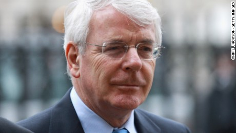 Sir John Major arrives at a Service of Thanksgiving for Dame Joan Sutherland on February 15, 2011, in London, England.