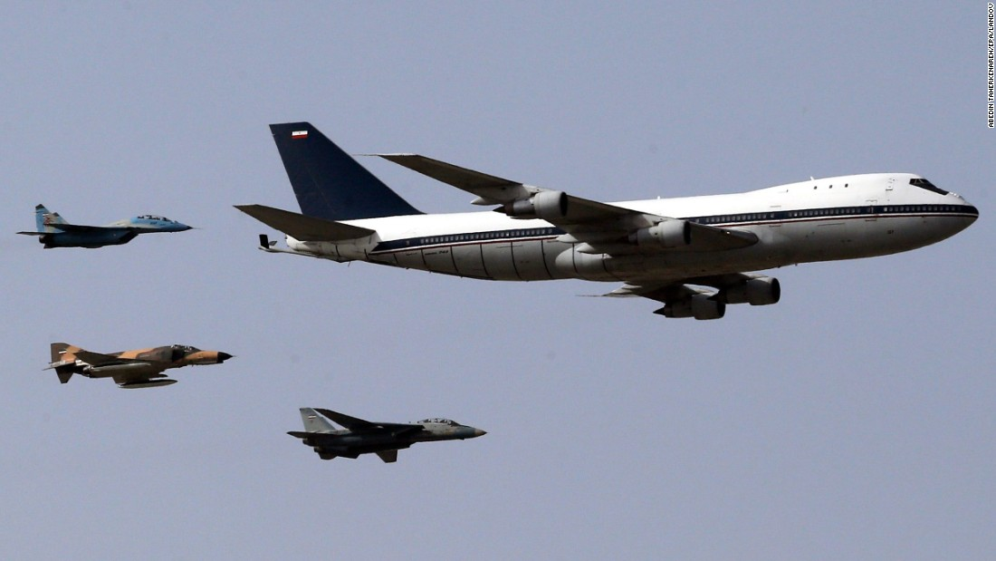 Iranian air force jets -- a MiG-29, from left, an F-4 Phantom and an F-14 Tomcat -- escort a Boeing 747 as they perform a flyover during a parade marking National Army Day on Saturday, April 18.