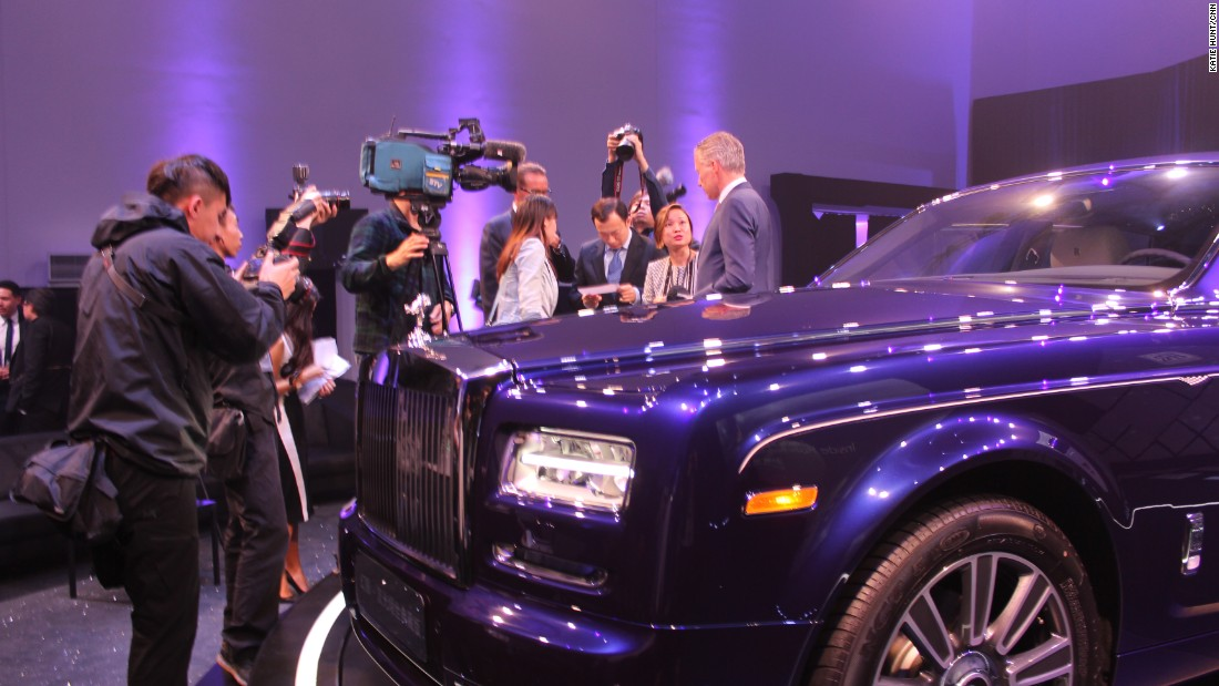 Rolls Royce CEO Torsten Mueller-Oetvoes talks to journalists after unveiling a new model, the Phantom Limelight, on April 18.
