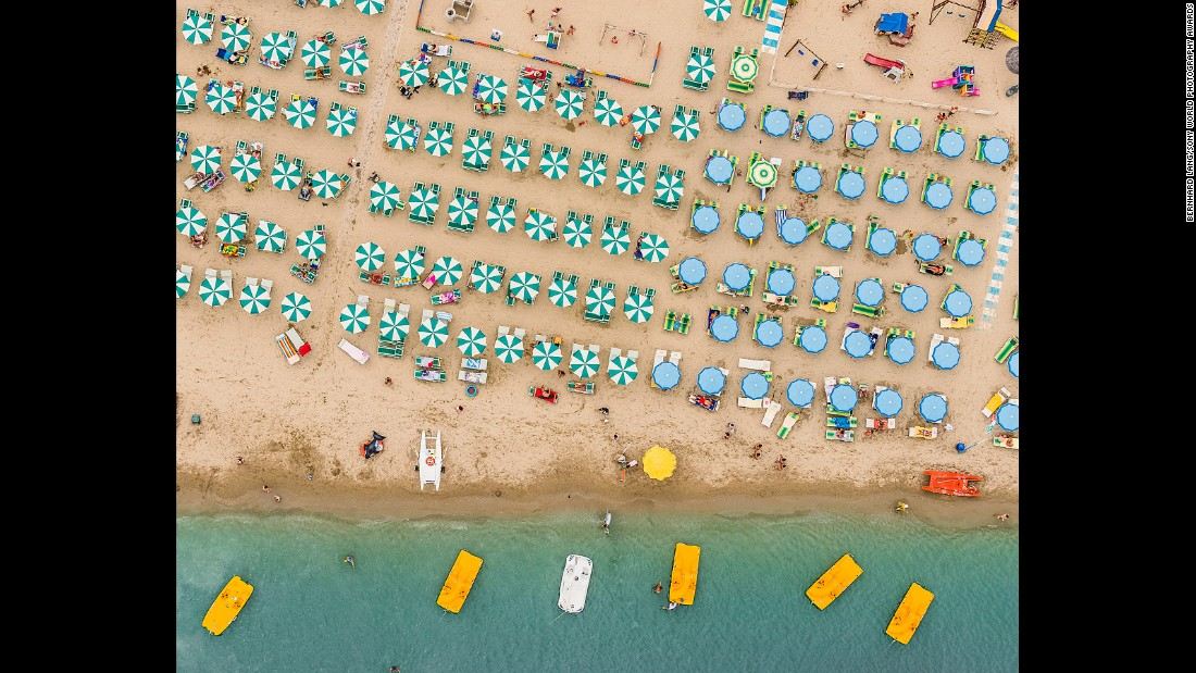 Munich-based aerial photographer Bernhard Lang captured these photographs from the underside of an ultra-light plane. While his winning photos depict the picturesque Adriatic coastline between the Italian towns of Ravenna and Rimini, Lang's other flights have taken him over mines and container ports, capturing beauty even in these industrial tracts, by framing repeated geometric patterns.