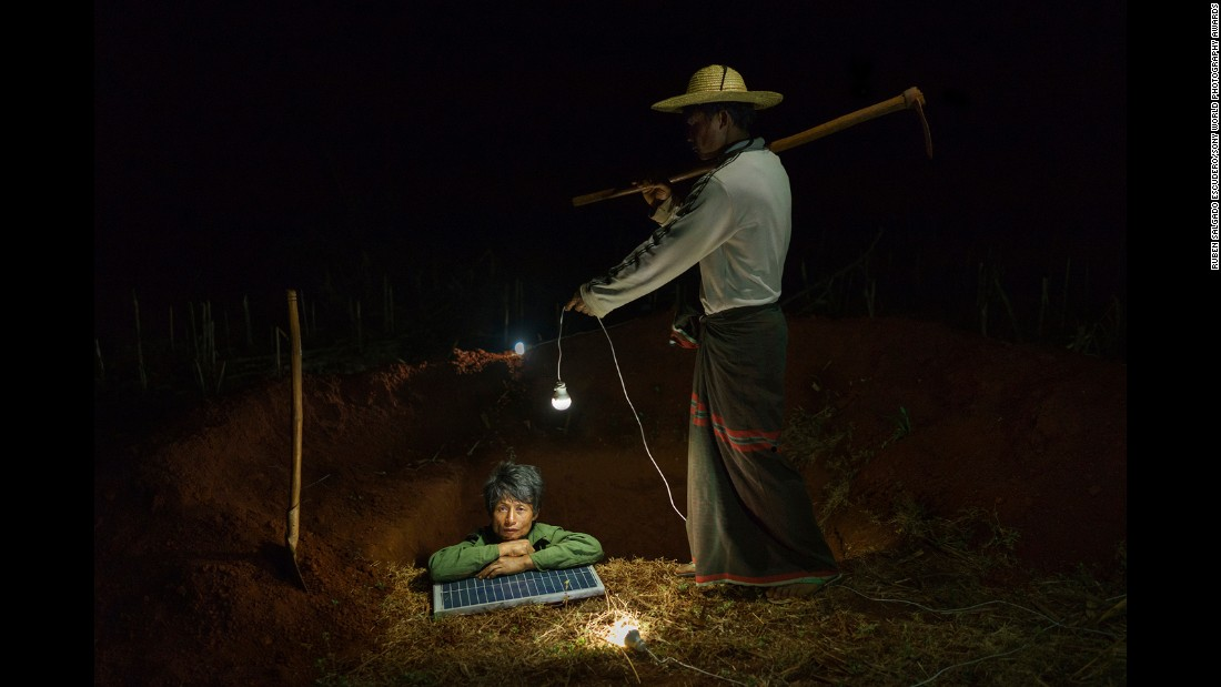 Myanmar-based Spanish photographer Ruben Salgado Escudero followed NGOs working in rural Myanmar to bring solar electricity to one of its poorest areas. Less than 30% of Burmese have access to the electrical grid and, for many, these photovoltaic cells provide steady nighttime lighting for the first time.