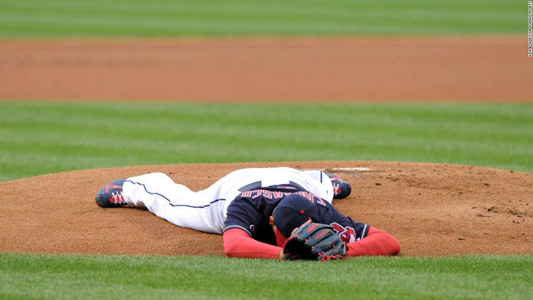 Cleveland pitcher Carlos Carrasco lies on the field after a line drive struck him in the jaw on Tuesday, April 14. Carrasco came out of the game and went to the hospital, but fortunately he was only bruised.