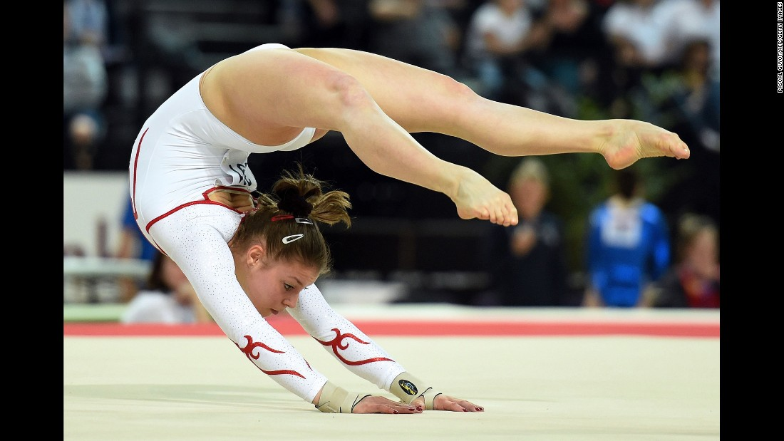 Swiss gymnast Caterina Barloggio competes in a floor exercise event Wednesday, April 15, at the European Championships in Montpellier, France.