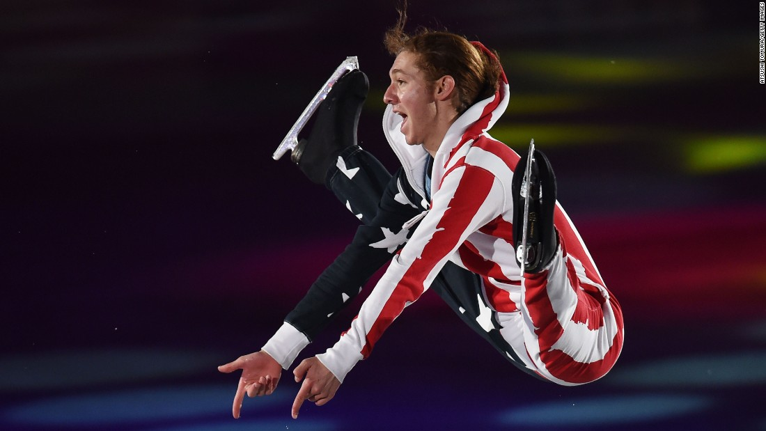 Figure skater Jason Brown performs an exhibition routine Sunday, April 19, at the World Team Trophy event in Tokyo.