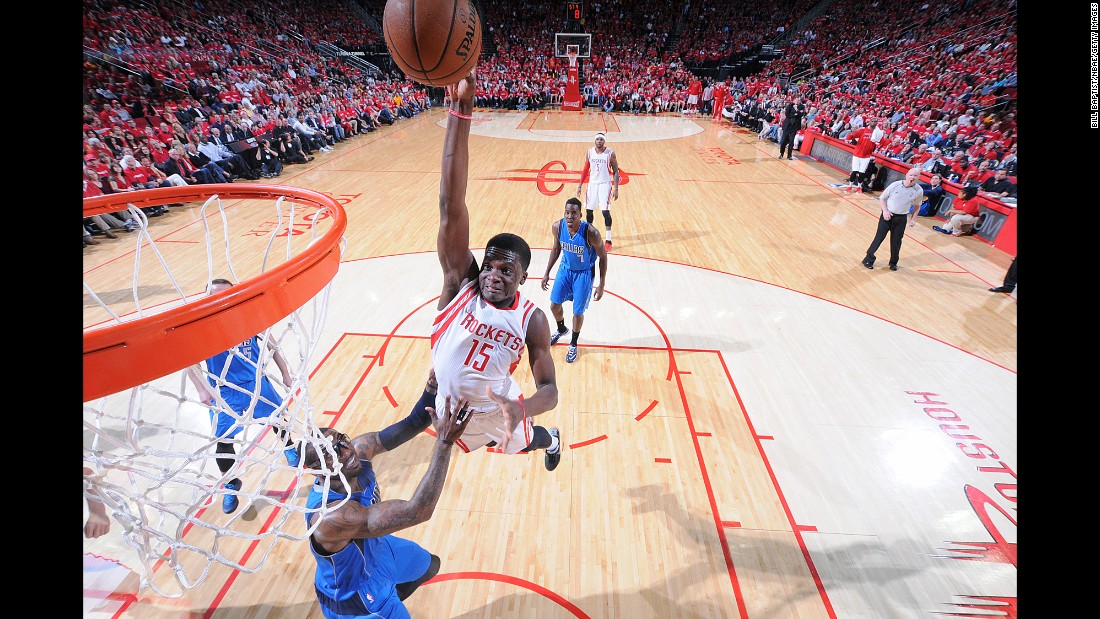Houston's Clint Capela goes up for a dunk Saturday, April 18, while playing Dallas in Game 1 of their Western Conference playoff series. The Rockets opened the series with a 118-108 victory.