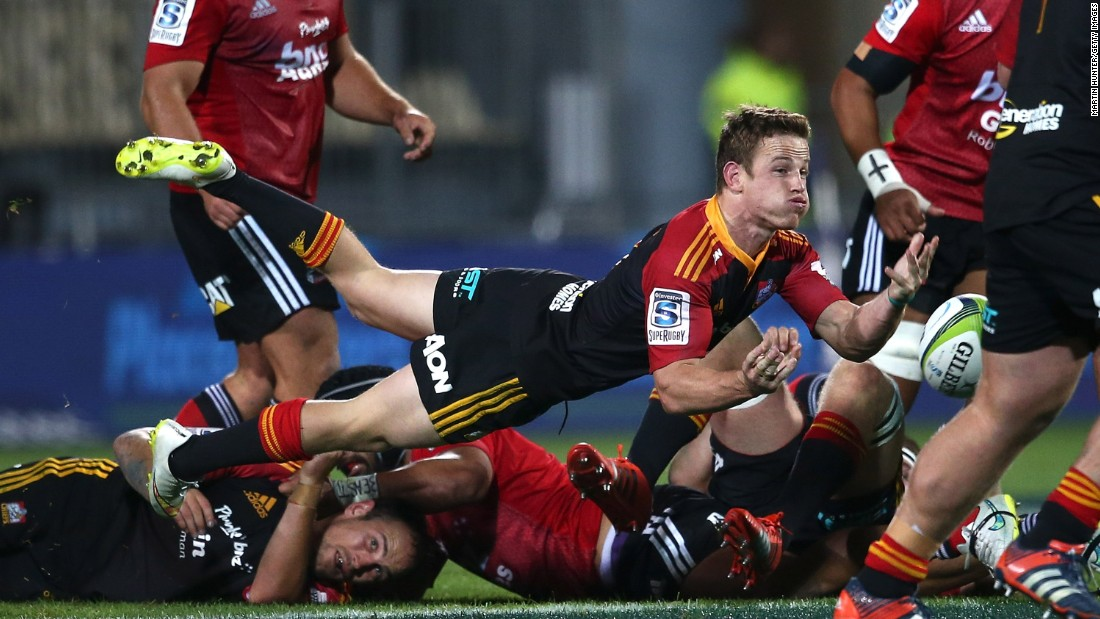 Brad Weber of the Chiefs looks to pass from a ruck during a Super Rugby match played Friday, April 17, in Christchurch, New Zealand.