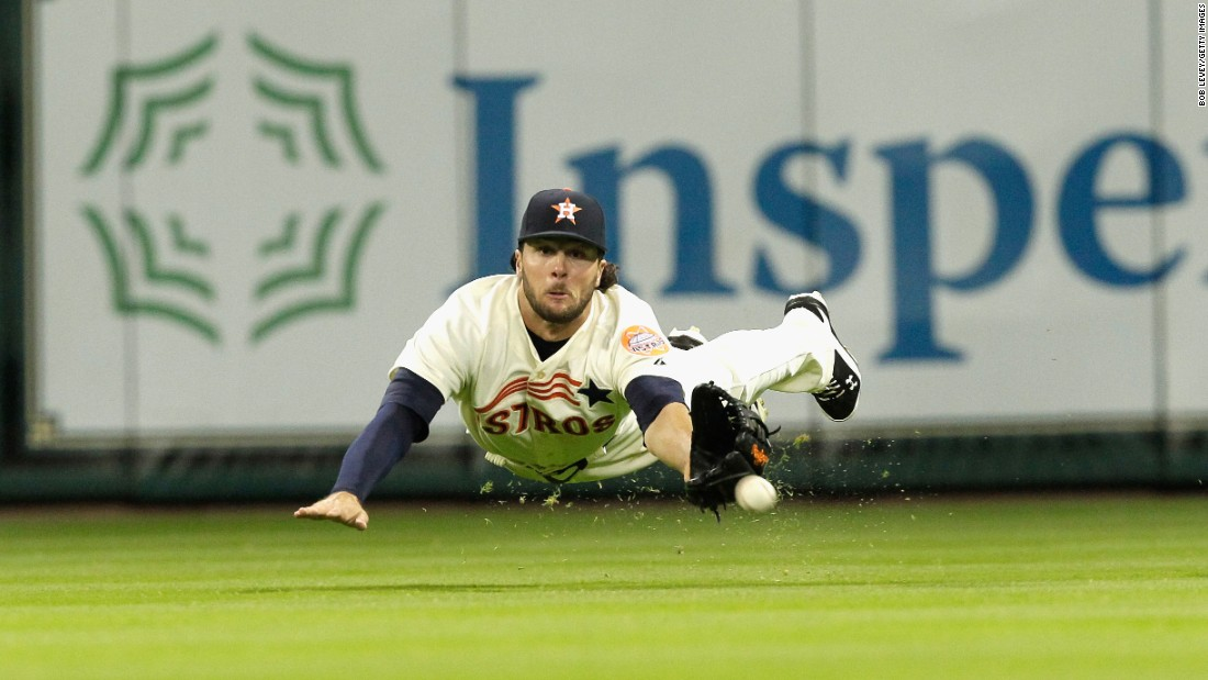 Houston outfielder Jake Marisnick dives for a ball during a home game on Saturday, April 18.