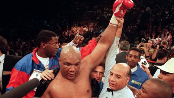 "Until Bernard Hopkins' career renaissance, George Foreman was the undisputed comeback king of boxing.  Foreman was coming off the back of a loss; he had not held a world title since ""The Rumble in the Jungle"" with Ali, twenty years previous. Moorer was the IBF and WBA champion and at his peak, slick and devilishly quick.   For 10 rounds Moorer ran Foreman ragged, with the elder statesman of the ring unable to land a punch. And then -- in the words of HBO commentator Jim Lampley -- ""it happened."" A huge right hand landed flush on Moorer's jaw, breaking his mouth guard and sending the champion straight to the canvas.  At 45 years old Foreman was the oldest heavyweight champion the world had ever seen, whilst laying some demons to rest in the process."