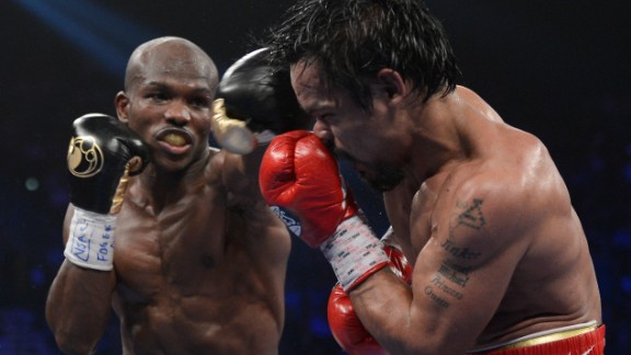 The fight itself wasn't an upset -- the result was. Pacquiao went into the ring favorite and performed as such, throwing and landing with a higher volume of punches than his American challenger.  However, after twelve rounds the judges announced the fight in Bradley's favor, winning by a split decision (115-113,115-113, 113-115). It was Pacquiao's first defeat in four years and chaos ensued. The result was queried and judges from the WBO reviewed the fight, with an independent committee agreeing Pacquiao had won -- not that they could officially reverse the result. The Filipino would have to wait two years before his revenge, eventually winning by unanimous decision in 2014.