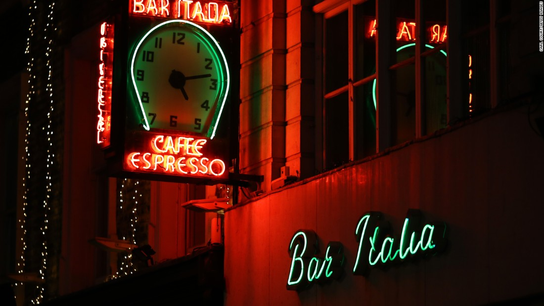 Bar Italia cafe, a Soho landmark. Many a reveler has stumbled into this all-night cafe for a latte and a grilled mozzarella panini after an evening boozing.
