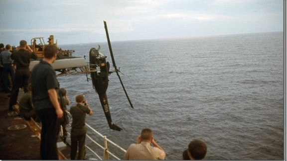 When helicopters threatened to take too much space aboard the USS Hancock, many were tossed overboard.