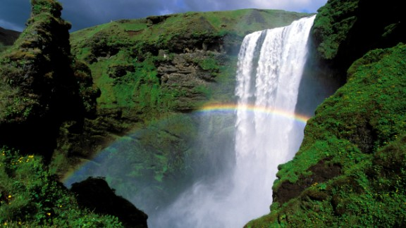 Iceland is the second-happiest country in the world. A two-hour drive from the capital city of Reykjavik, south Iceland is home to Skogafoss Waterfall and many other natural wonders. This famous 60-meter (197-foot) waterfall nearly always has a rainbow.