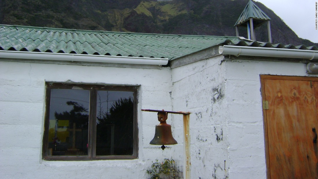 St. Mary's church on Tristan da Cunha. The island also has a pub, swimming pool, school, cafe, dance hall and museum.