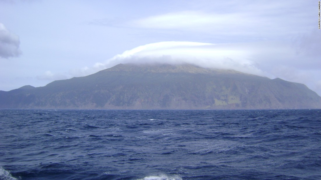 The tiny South Atlantic archipelago of Tristan da Cunha as pictured from sea.