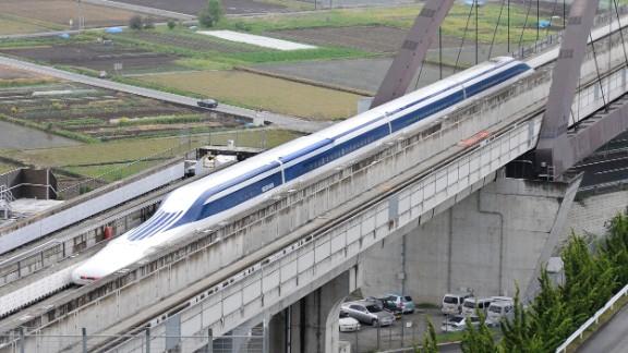 A Japanese maglev train during a test run.