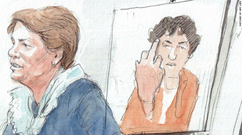 Jury sees photo of bomber giving the finger