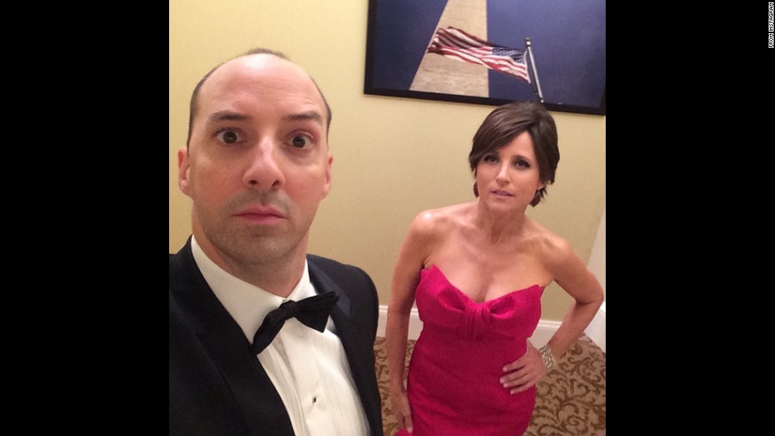 "Actress Julia Louis-Dreyfus posted this <a href=""https://instagram.com/p/1tkmZoOxi-/?taken-by=officialjld"" target=""_blank"">""backstage selfie""</a> with ""Veep"" co-star Tony Hale on Monday, April 20."