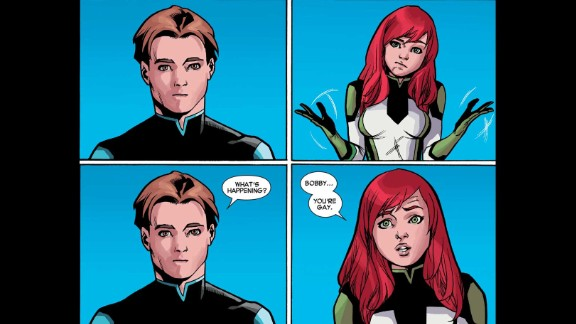 """Jean Grey asks Bobby why he calls women """"hot,"""" when she knows he is gay."""