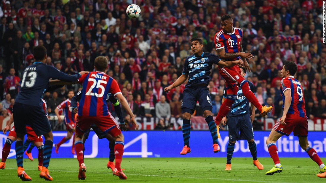 Jerome Boateng was next to find the net, nodding home after Holger Badstuber's flick on. His goal canceled out Porto's first leg lead and leveled the tie at 3-3.