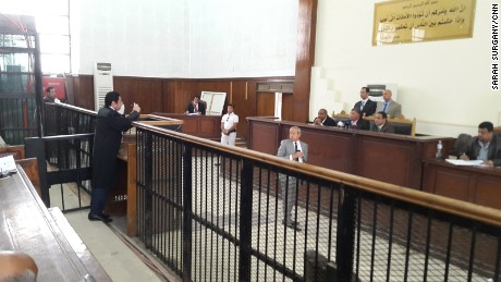 Naguib Sawiris testifies as a character witness for Fahmy in Cairo on Wednesday.