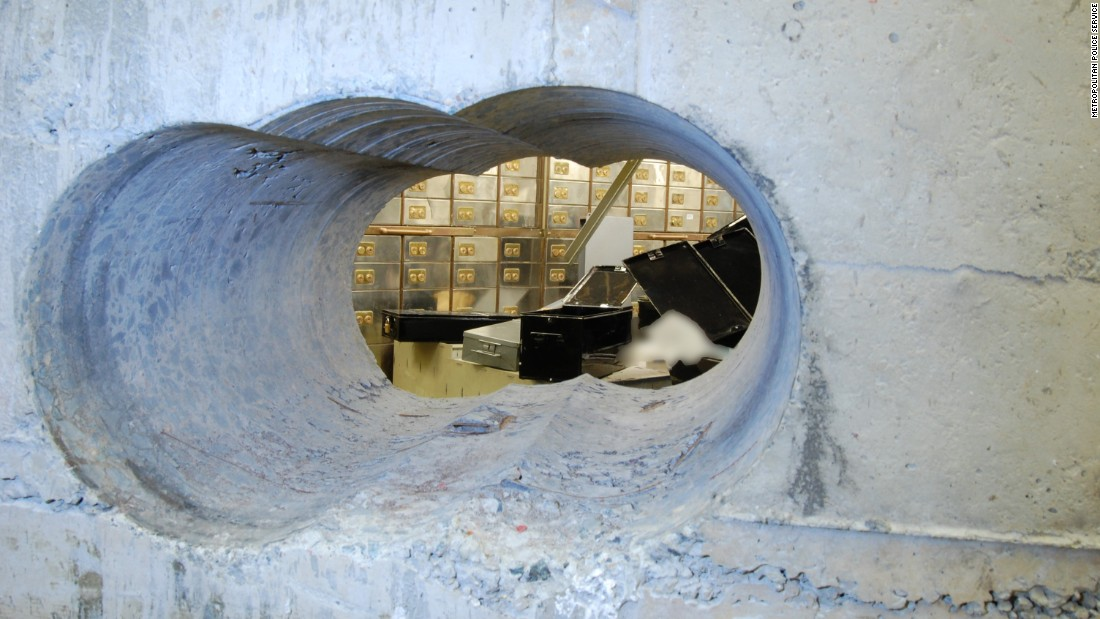 "The heist in April targeted the Hatton Garden Safe Deposit Ltd., which has been <a href=""http://www.cnn.com/2015/04/08/europe/london-hatton-garden-heist/"" target=""_blank"">""the epicenter of London's jewelry trade since medieval times.""</a> Police believe it took days. This hole through a vault wall is about 10 inches high and 18 inches wide. The wall is composed of 20 inches of reinforced concrete, so the drilling alone likely took a while."