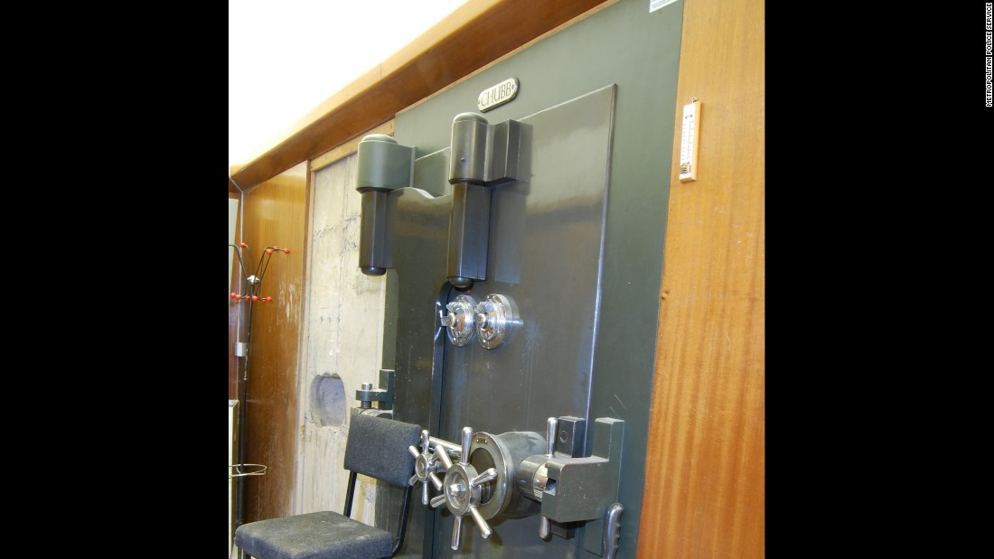 "The vault is protected by a pretty intimidating door, which is probably why the thieves opted to bore through a concrete wall instead. Though little information is known (or being released) about the suspected robbers, <a href=""http://www.dailymail.co.uk/news/article-3034400/Caught-camera-Dramatic-pictures-Hatton-jewellery-heist-gang-middle-audacious-60million-gem-raid.html"" target=""_blank"">London's Daily Mail has already given them nicknames</a> such as Mr. Ginger and Mr. Montana. Very ""Reservoir Dogs"" of them. The paper further reports that the thieves were dressed like utility workers, their faces were covered and they carried large bags with tools, though CNN hasn't been able to confirm those details."