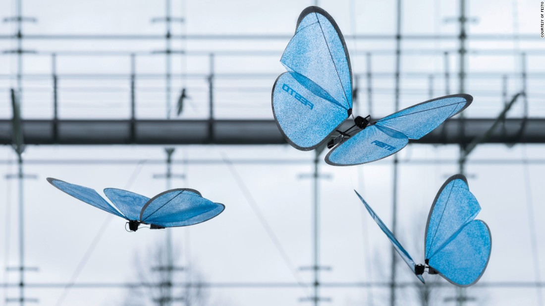 "Festo's <a href=""http://edition.cnn.com/2015/05/06/tech/mci-bionic-insects/"">butterflies</a> perfectly recreate the delicate flight of the insect."