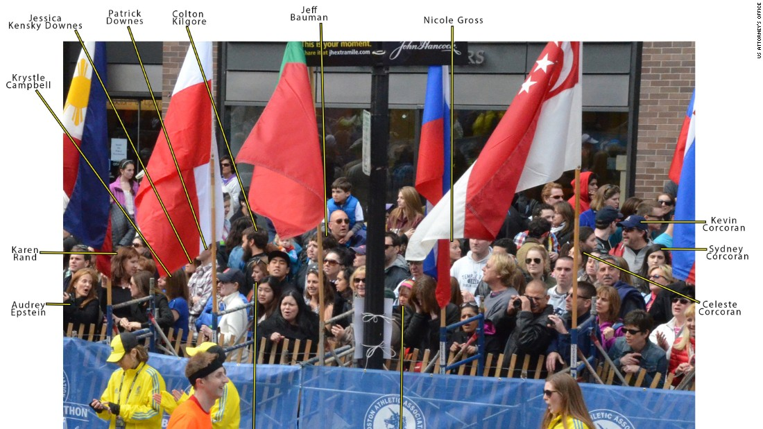 This image shows victims' positions in the crowd prior to the Boston Marathon bombings on April 15, 2013.