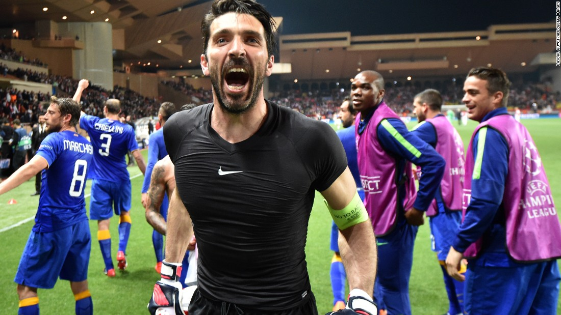 Gianluigi Buffon, the Juventus goalkeeper, celebrates after his side secured its place in the last four with a 1-0 aggregate victory over Monaco. The Italian team claimed a goalless draw on the night to progress