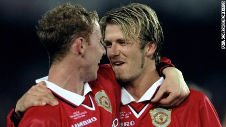 Nicky Butt and David Beckham of Manchester United celebrate victory over Bayern Munich after the UEFA Champions League Final at the Nou Camp in Barcelona, Spain.