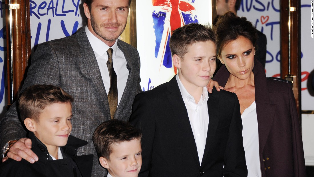 "Here the family attend the press night of ""Viva Forever,"" a musical based on the career of the Spice Girls, in  December 2012."