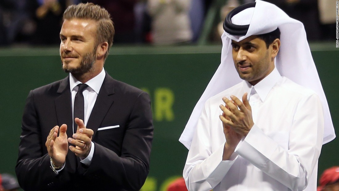 Beckham's move to Qatar-owned PSG gave him kudos in the Middle East. He presented the winner's trophy to tennis player David Ferrer at the 2015 Qatar Open in Doha.