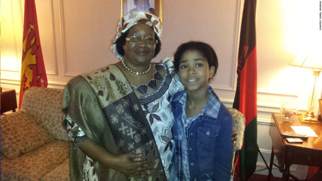 She is pictured here with former president of Malawi Joyce Banda after her interview.